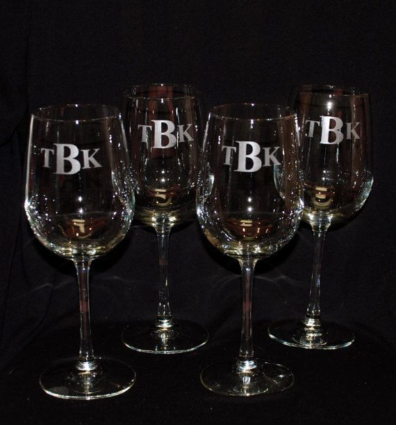 8 Etched Wine glasses 16 oz tall wine glass by MemoriesMadeToronto