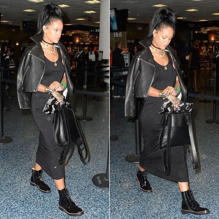 Rihanna wearing Nektar de Stagni choker, Acne jacket, Maison ...