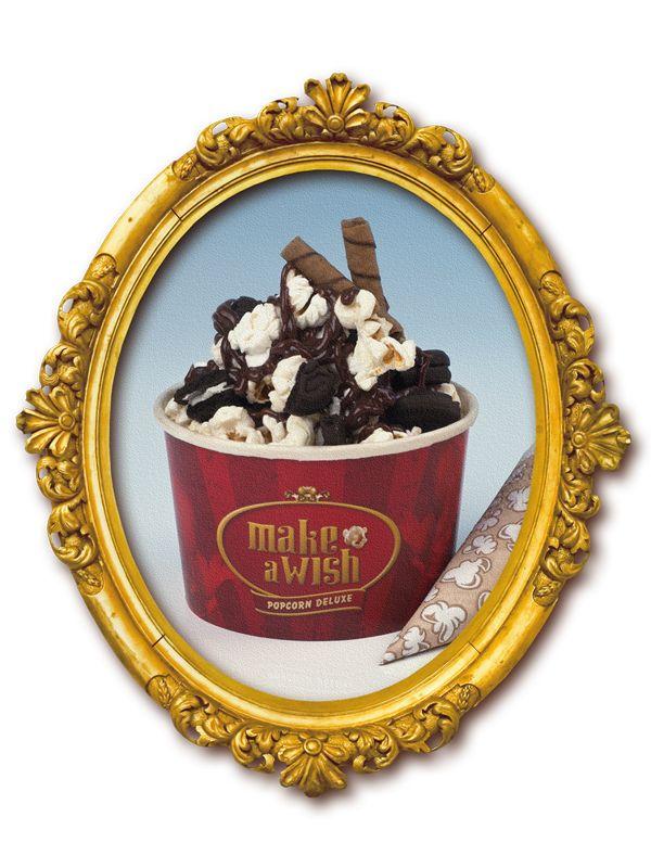 Cardápio | Make a Wish Popcorn Ski: Pipoca premium com cobertura de chocolate belga Callebaut, um toque de baunilha, farofa de biscoito Oreo e canudinhos waffer.