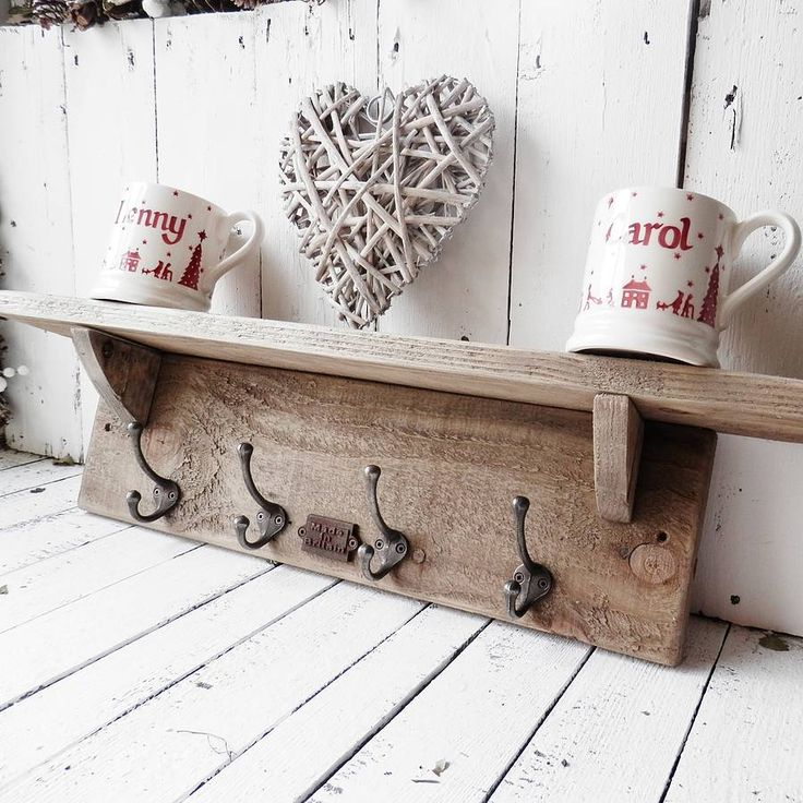 british made vint. style wood shelf and hooks by potting shed designs | notonthehighstreet.com