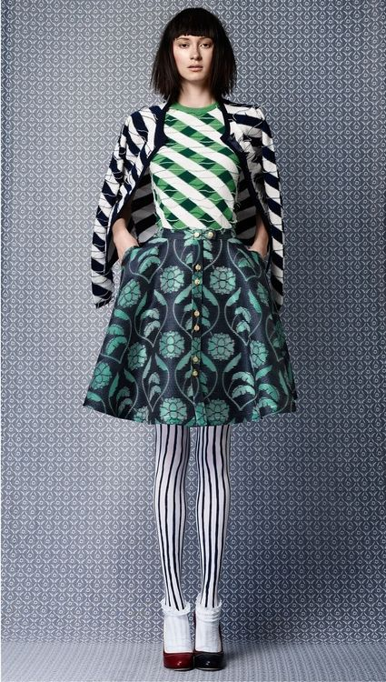 pattern & print mix in blue and turquoise  |Fashion + Photography| Photo: Thom Browne |