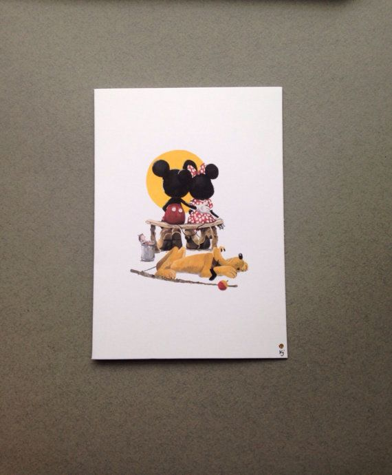 Disney Mickey Minnie and Pluto Sunset Handmade by ParadiseFallls