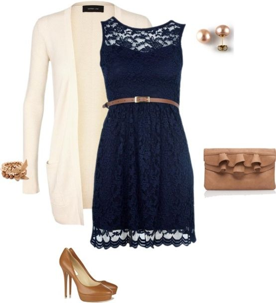 navy lace overlay dress, cream cardigan, camel/gold accessories