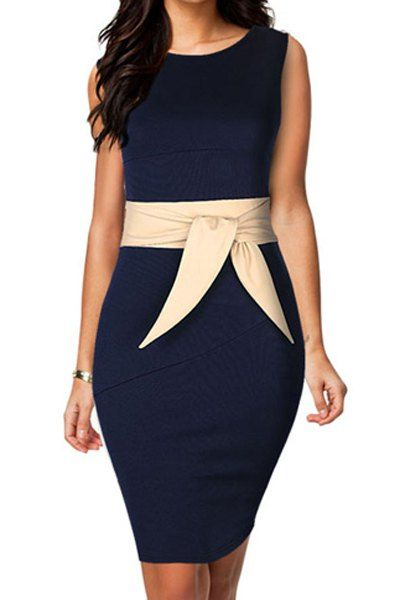 $11.58 Color Block Sweet Scoop Neck Sleeveless Packet Buttock Dress For Women