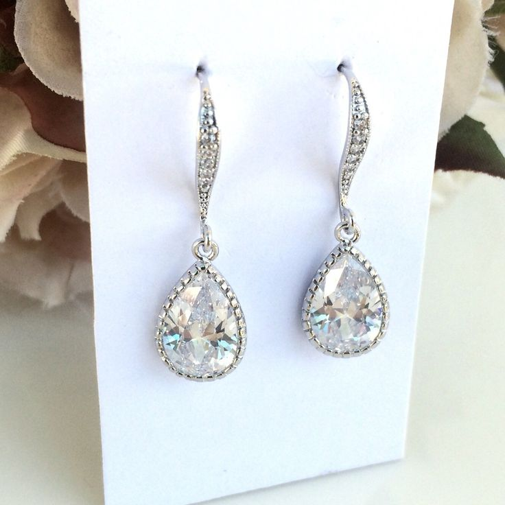 Cubic zirconia bridal earrings by Colour and Sparkle. Wedding jewellery, bridal jewellery, bridal accessories
