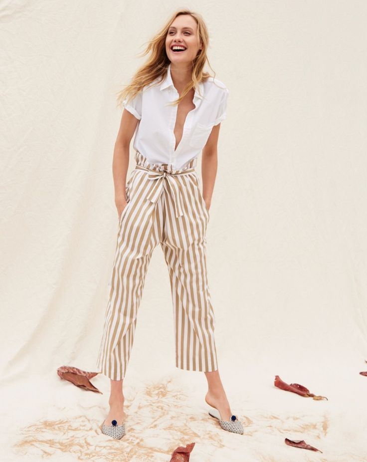 J. Crew Men's Short-Sleeve Lightweight Oxford Shirt, Thomas Mason for J. Crew Striped Cotton Pant and Ikat Pointed-Toe Mules