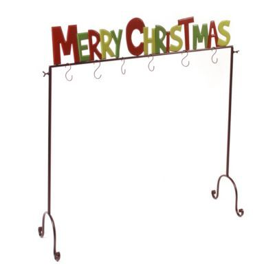 red and green merry christmas stocking holder stockings merry christmas and products. Black Bedroom Furniture Sets. Home Design Ideas