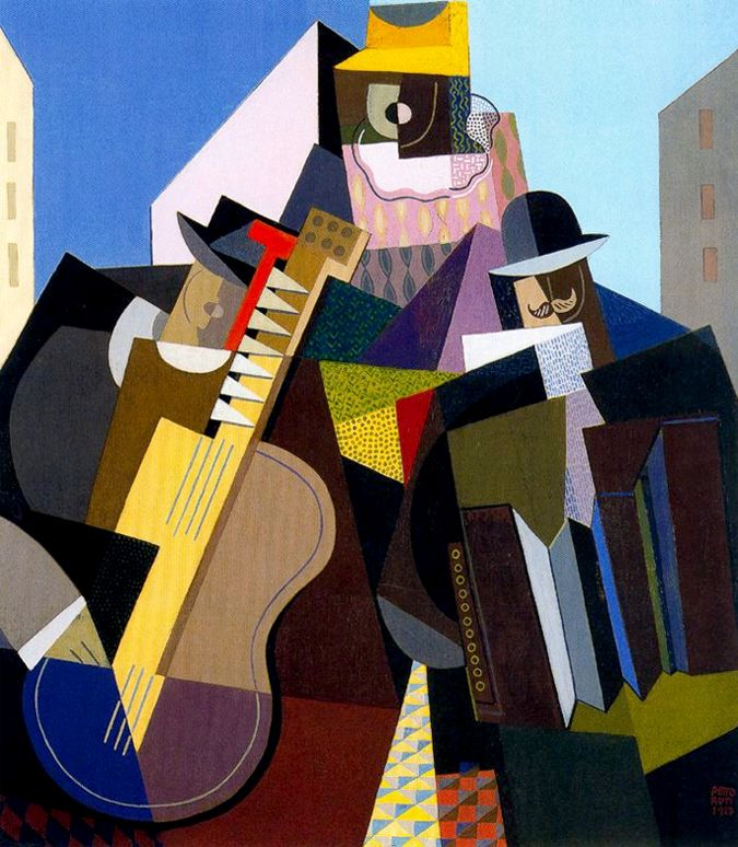 'La Cancion del Pueblo' (1927) by Argentinian painter Emilio Pettoruti (1892-1971). Oil on board, 73.8 x 64.7 cm. via Mid-centuria