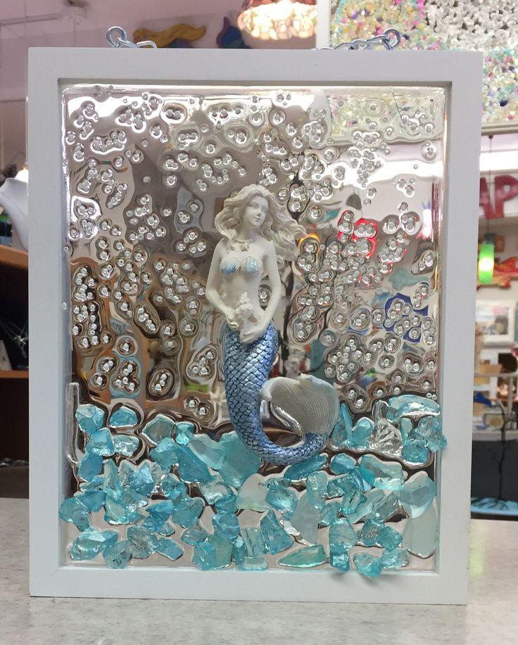 Mermaid Window, Glass Art, Framed Beach Art, Crushed Glass Art, Beach Decor, Coastal Decor