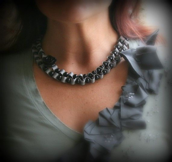 Twillypop Raven Rose and Ribbon Necklace. Handmade. by twillypop #handmade #etsy #fashion