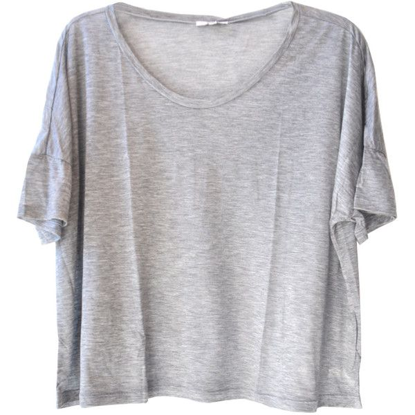 Clu Grey Crop Top (€94) ❤ liked on Polyvore featuring tops, t-shirts, shirts, crop tops, women, shirt crop top, gray tee, shirts & tops, crop tee and grey tee