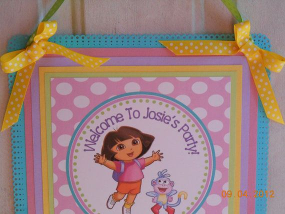 NEW Customized Dora the Explorer Party Sign