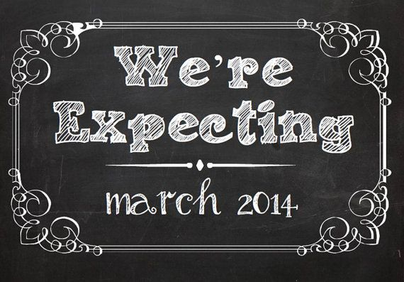We're Expecting Chalkboard Printable - baby/ pregnancy announcement 8x10