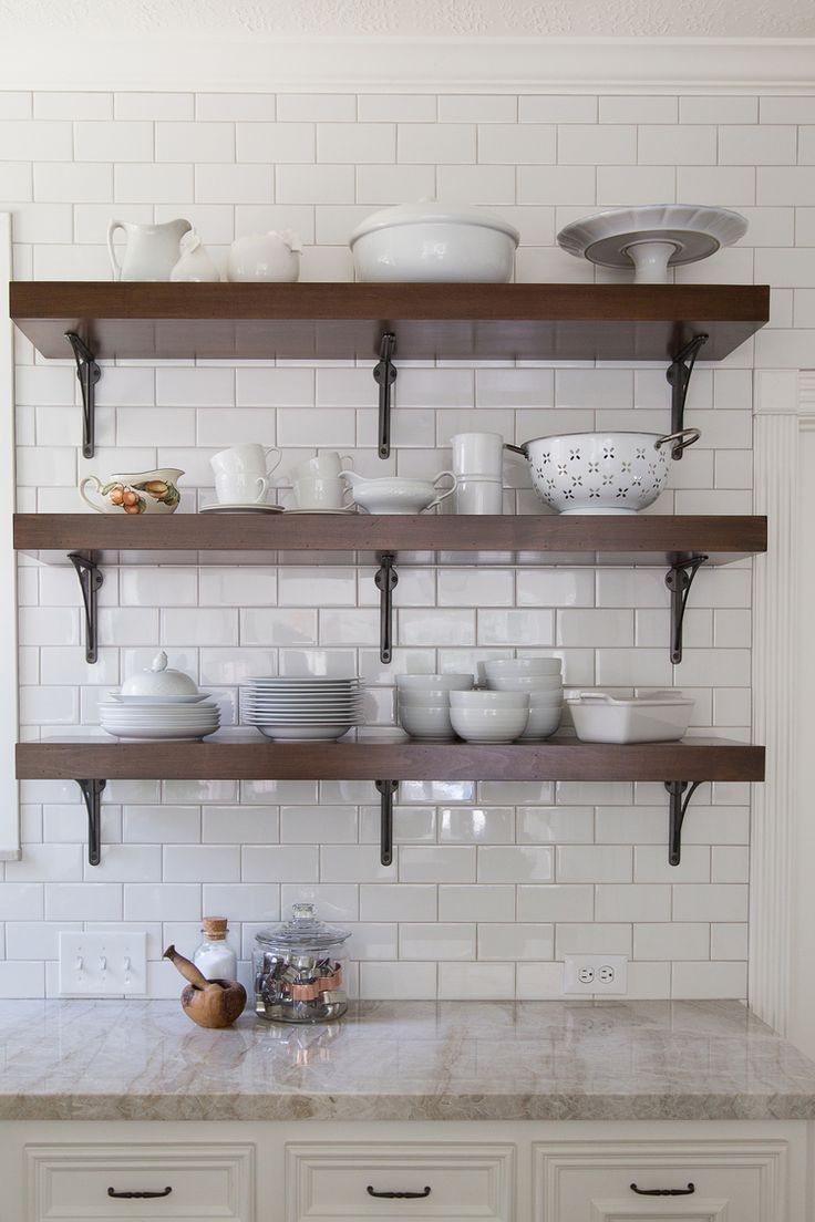 71 best kitchen open shelving images on Pinterest Baking center
