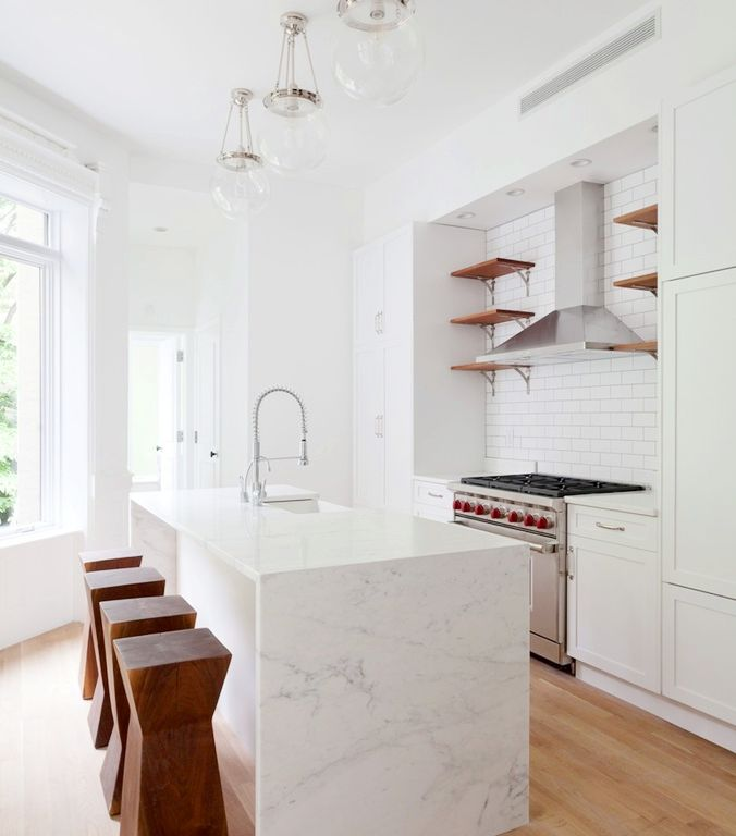 Best Waterfall Countertop Ideas On Pinterest Marble Kitchen