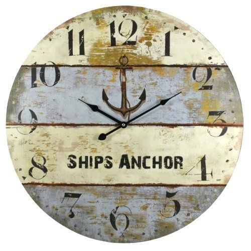 nautical clock amazoncom ships anchor beach coastal decor extra large wall