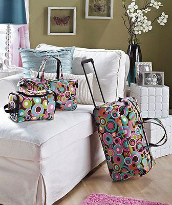 3-Pc Lot, Girls Luggage Sets, Polka Dots, Rolling Duffel, Tote, Toiletry Bag