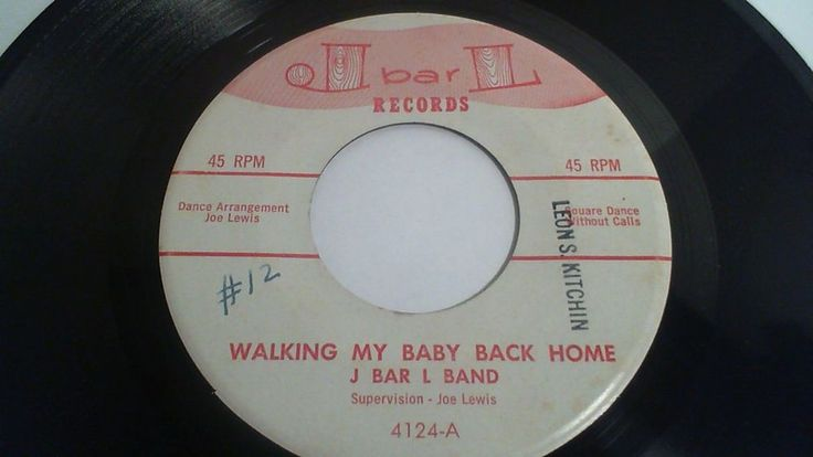 "J Bar L Band ""Walking My Baby Back Home"" Square Dance 45 RPM Call Sheet NM #SquareDance"