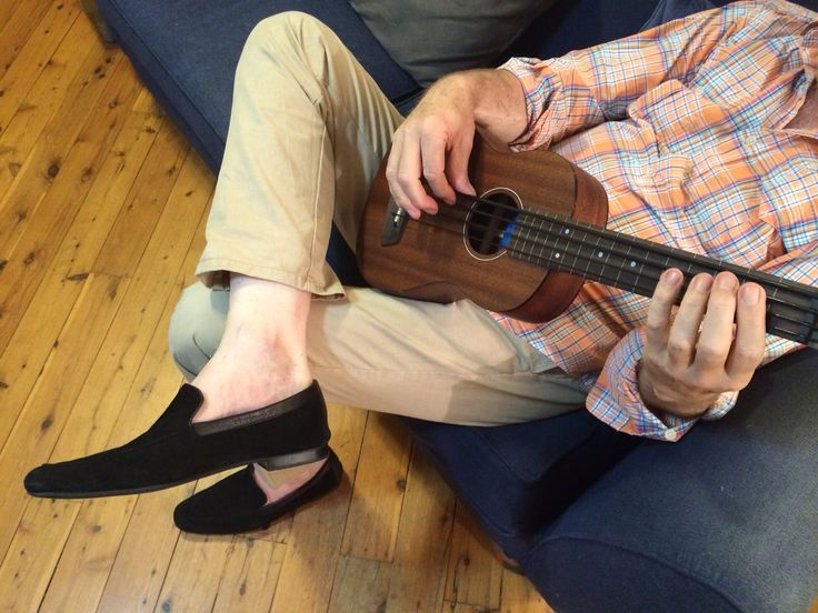 Ralph Lauren shirt, Gant trousers, John Lobb black suede loafers. Kala fretless mahogany U bass.