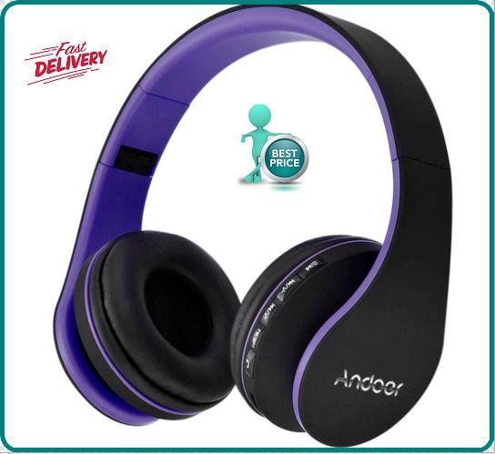 Andoer Bluetooth 4.1 Headphone Wireless Stereo Headset Purple FAST SHIPPING #Andoer