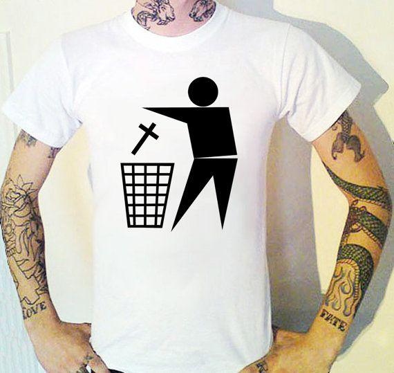 Bin Religion T-Shirt. Atheist Punk Non Secular by BUGSPONGE