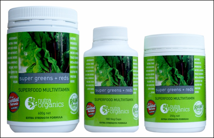 Supergreens and Reds - New and updated formula and sizes - available now at www.nutraorganics.com.au