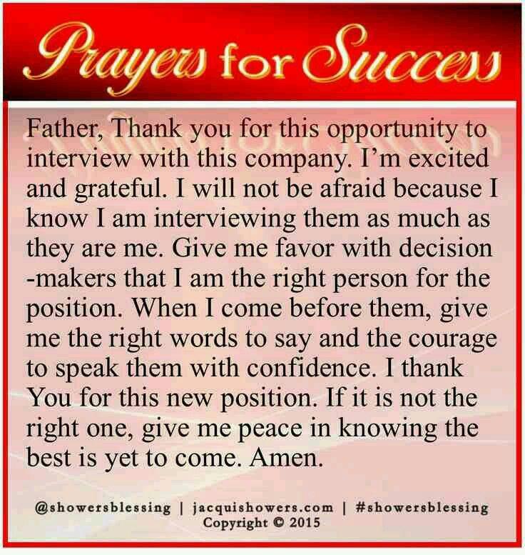 Prayer job interview
