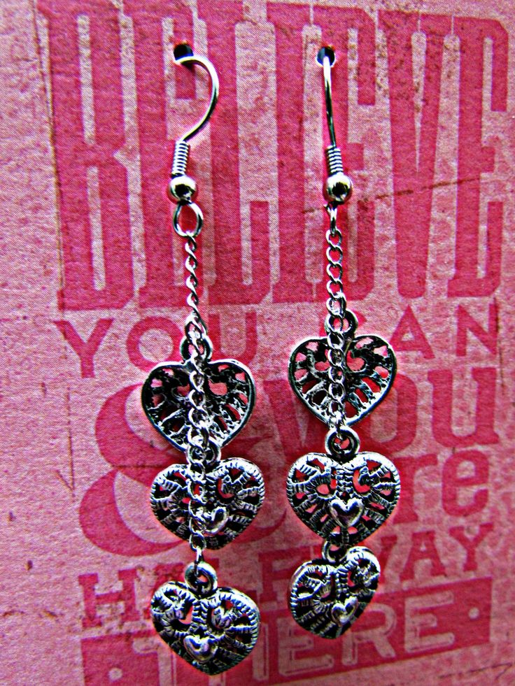 Trio Silver Heart Earrings www.madeit.com.au/madebykasame