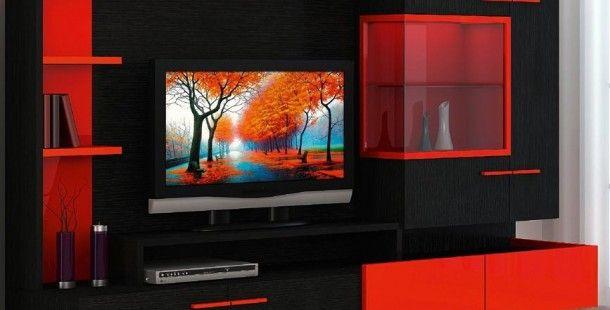 Modern Kırmızı ve Siyah Tv Ünite Tasarımlarına Baktınız Mı !