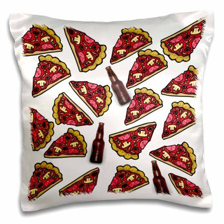 3dRose Print of Pizza Slices And Beer Repeat Pattern, Pillow Case, 16 by 16-inch