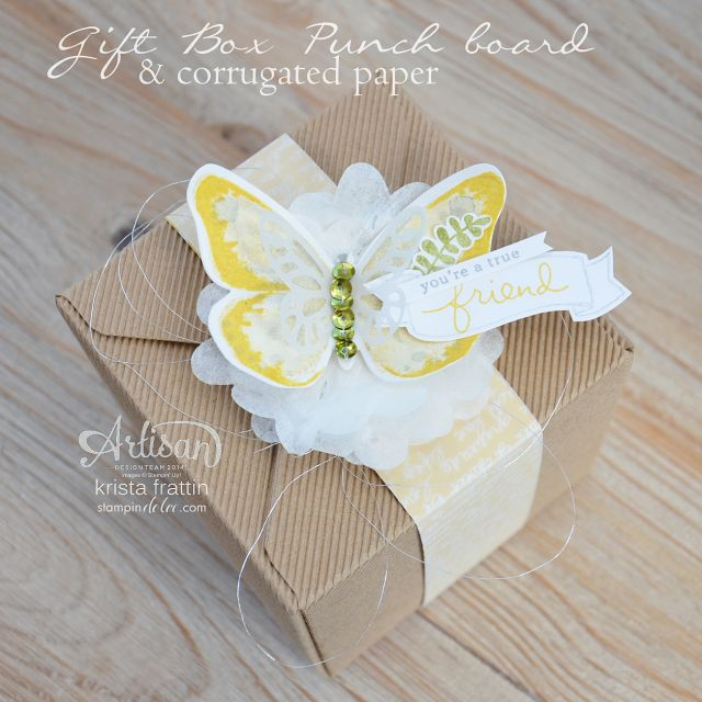 Use corrugated paper to create a box with the Stampin' Up! gift box punch board - krista frattin