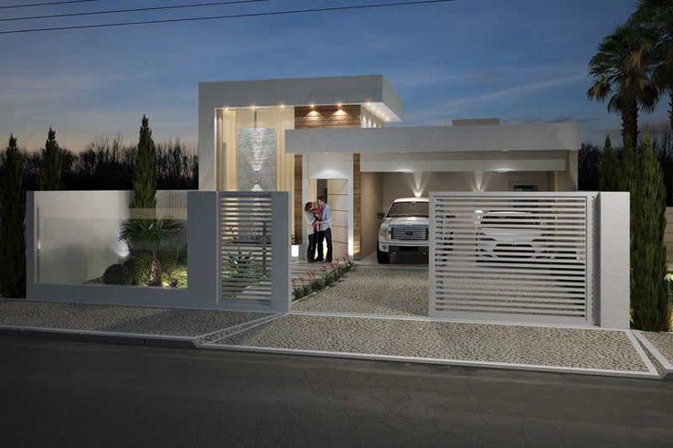 Planta de casa com muro de vidro