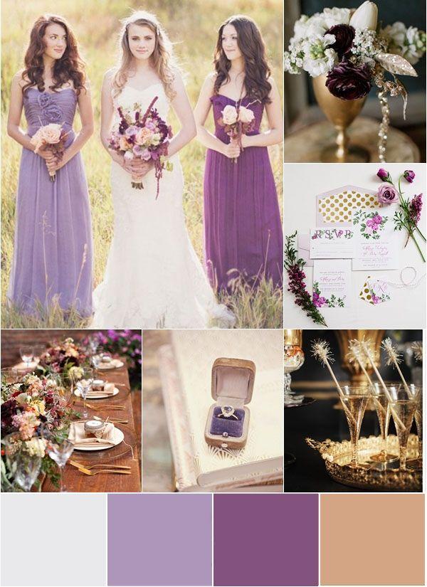 Different shades bridesmaid dress /2015 Wedding Trends – 5 Sparkly, Gold Glitter Wedding Ideas | http://www.deerpearlflowers.com/5-sparkly-gold-glitter-wedding-ideas/