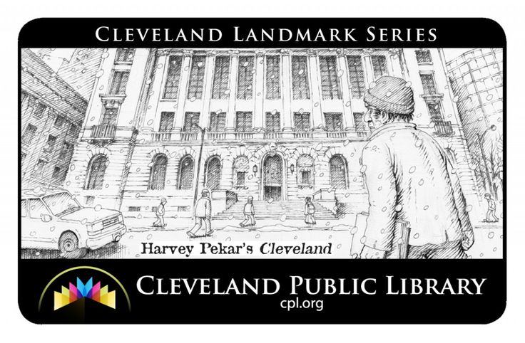 New library card celebrates the Cleveland Public Library and Cleveland native Harvey Pekar. Artwork by Joseph Remnant.