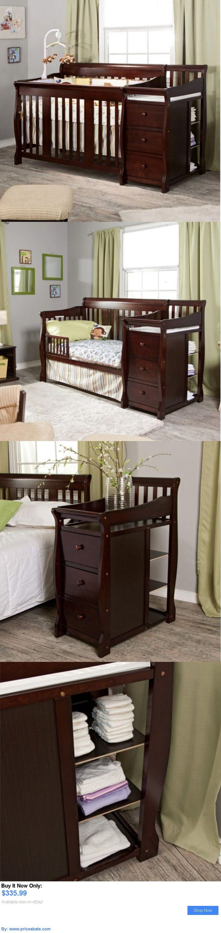 Unfinished crib for sale - Baby Nursery Convertible Baby Crib 4 In 1 With Changing Table Espresso Fixed Side Toddler