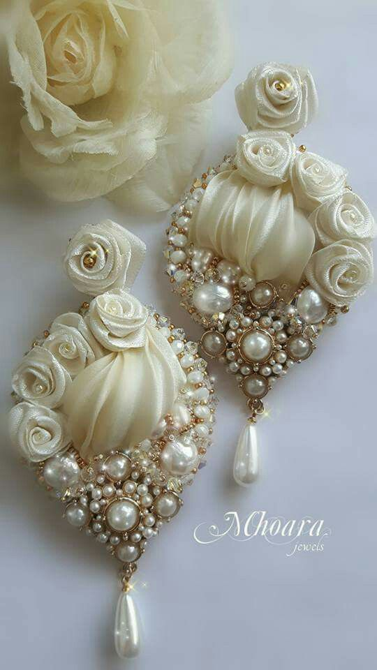 ' Ivory Dream ' earrings - shibori silk - silk ribbons - by Mhoara Jewels                                                                                                                                                      More