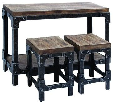 Console Table 2 Stools Distressed Wood Metal Home Accent Decor industrial-indoor-pub-and-bistro-sets