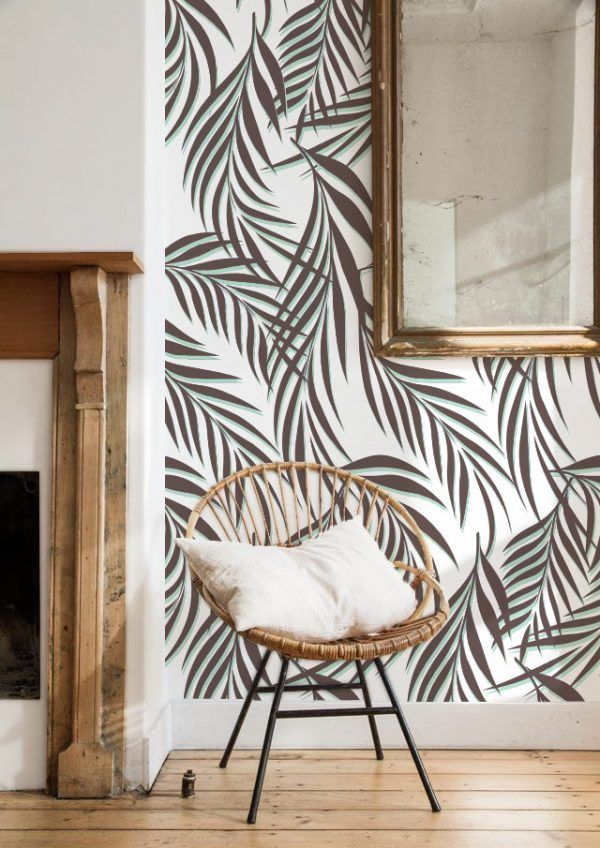 papier peint tropicaux - fauteuil en rotin