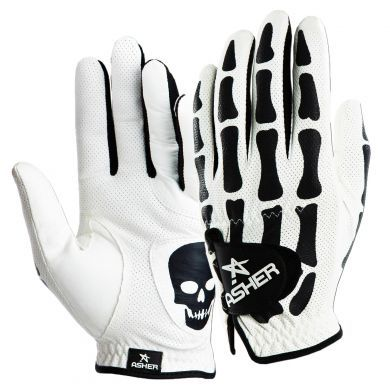 Asher White Deathgrip CoolTech Men's Golf Glove. Scare the pants off Old Man Par by wearing the White Cooltech™ Deathgrip golf glove from Asher Golf. Constructed from premium synthetic white leather which is made to let your hand breathe, the Deathgrip also features tacky Cabretta leather reinforcements for durability and control.