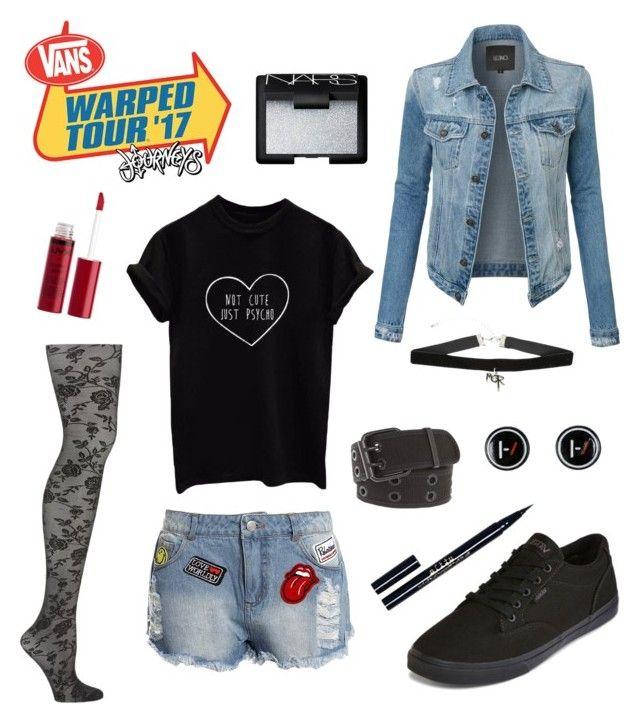 """Warped Tour Outfit 2"" by sammy-the-moose on Polyvore featuring Emilio Cavallini, Vans, Sans Souci, LE3NO, Charlotte Russe, Stila, NARS Cosmetics, warpedtour and warptour2017"