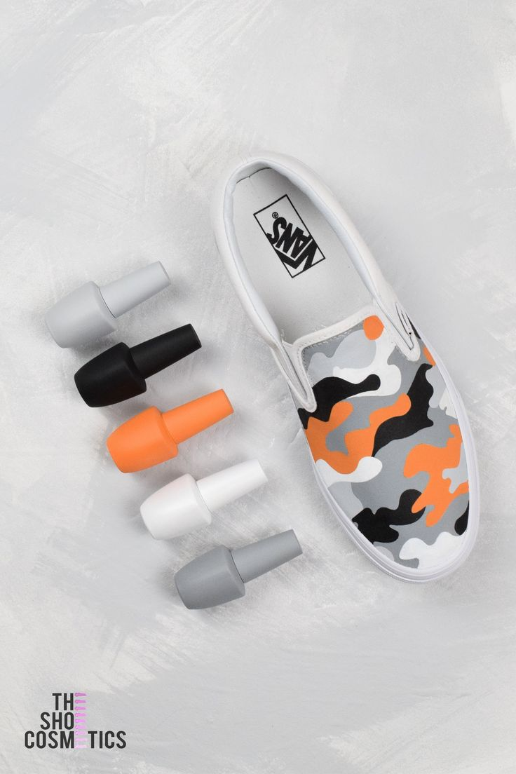 Tangerine camouflage slip on vans custom shoes Int…