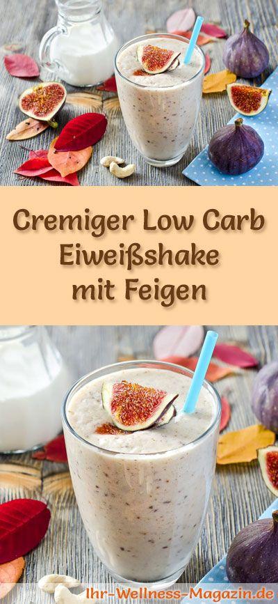 Eiweißshake mit Feigen selber machen - ein gesundes Low-Carb-Diät-Rezept für Frühstücks-Smoothies und Proteinshakes zum Abnehmen - ohne Zusatz von Zucker, kalorienarm, gesund ...