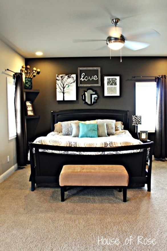 like the choice of colors: Wall Colors, Master Bedrooms, Corner Shelves, Accent Walls, Dark Accent Wall, Bedrooms Wall, Bedrooms Ideas, Black Wall, Dark Wall