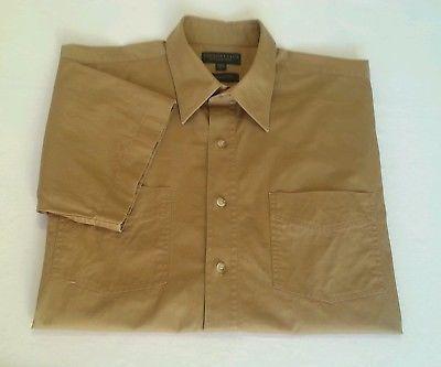 Country Club by Fletcher Jones Mens Shirt Casual Short Sleeve Brown Cotton Sz L
