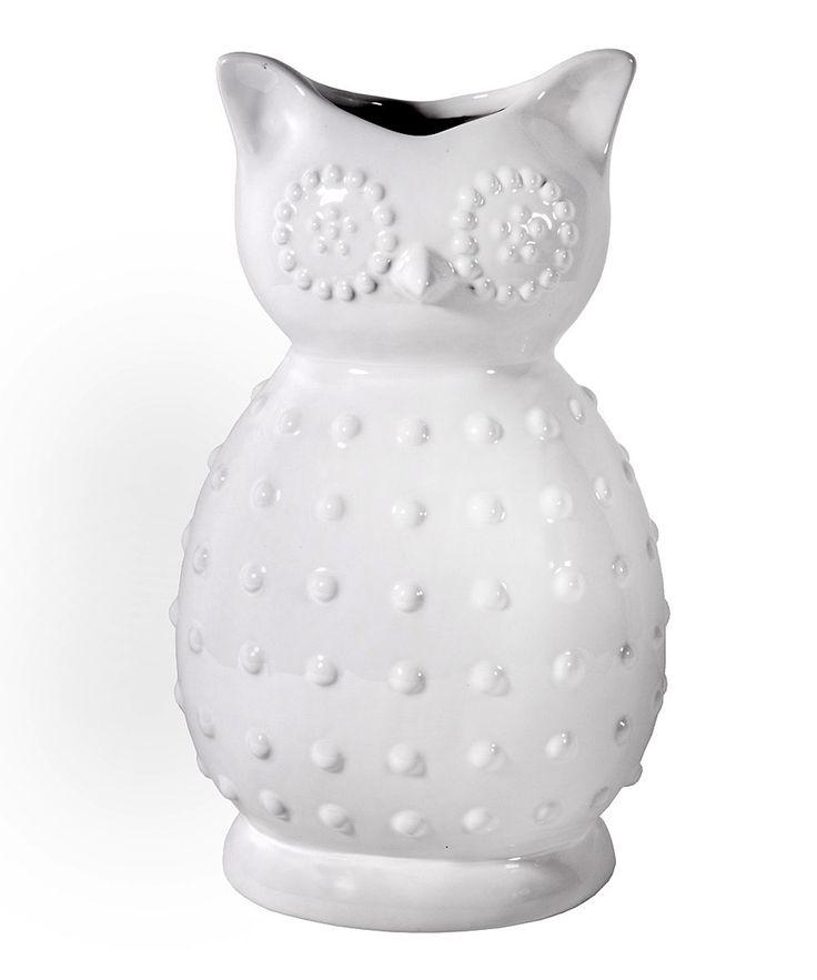 White Ceramic Owl Vase