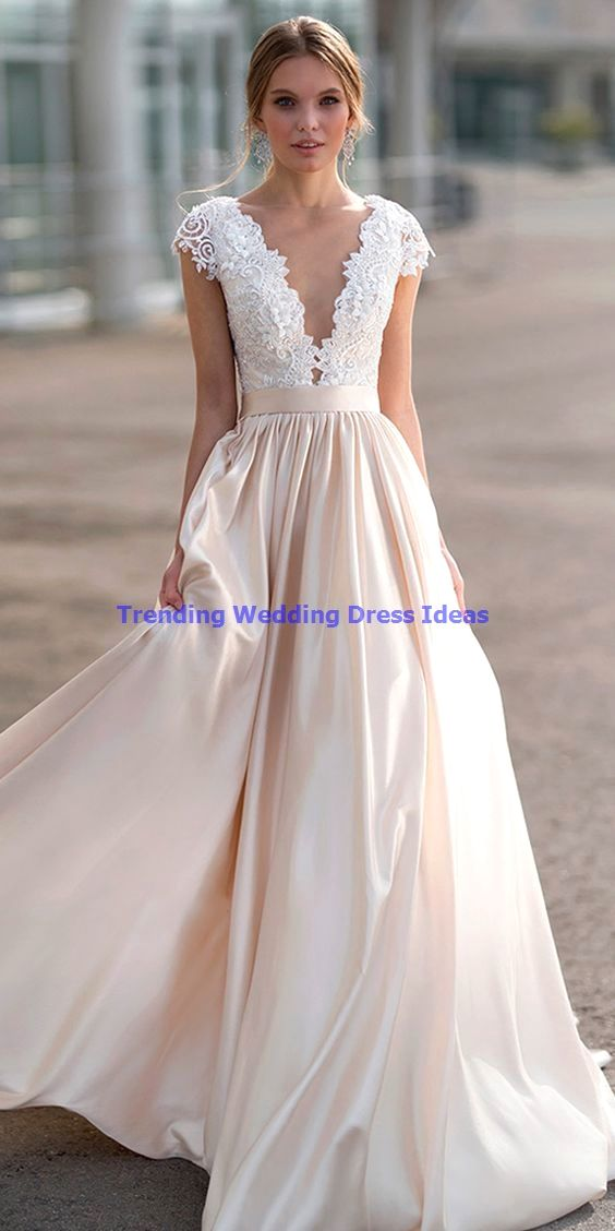 fancygirldressCap Sleeve Deep V neck Lace Long Prom Dress, Sexy…