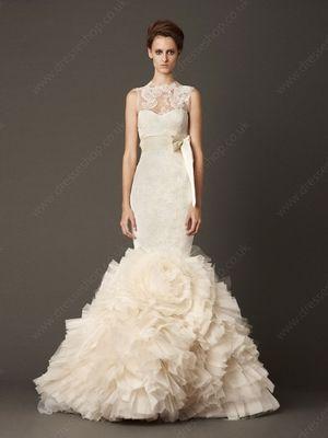Trumpet/Mermaid High Neck Lace Tulle Sweep Train Pleats Wedding Dresses -£420.29
