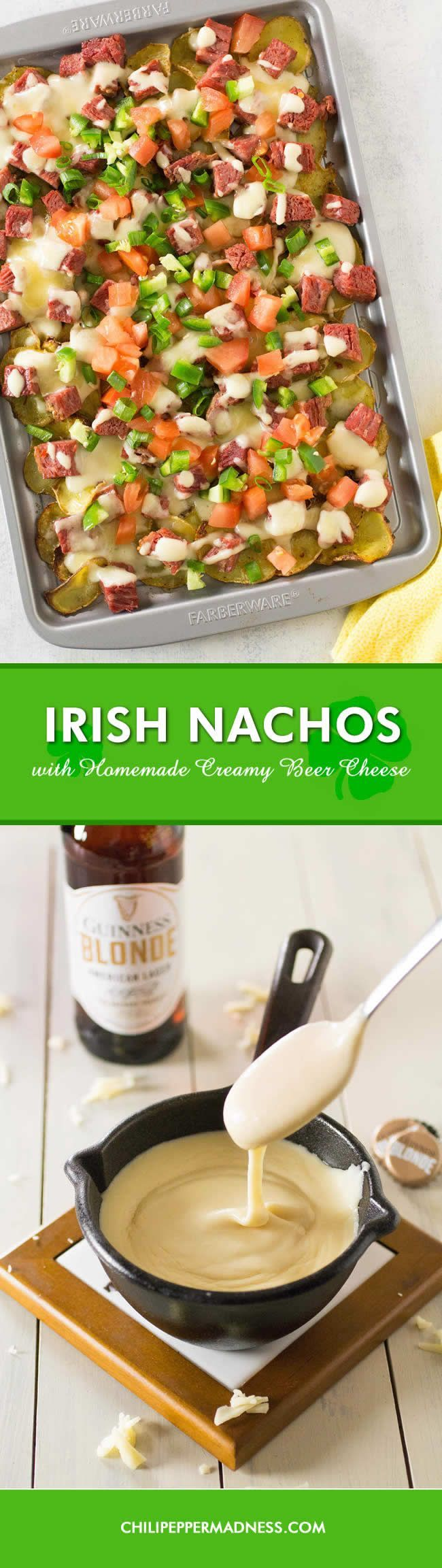 "Irish Nachos with Homemade Beer Cheese - The ultimate recipe for ""Irish Nachos"" made with baked potato slices, corned beef and a creamy homemade beer cheese, topped with jalapenos, tomatoes, and thousand island dressing. You will crave this dish all year long."