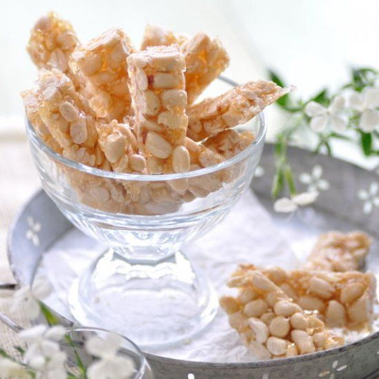 Crunchy, sweet and sinfully additive peanut brittle. If you've never tried the Chinese candy, you're real missing out.