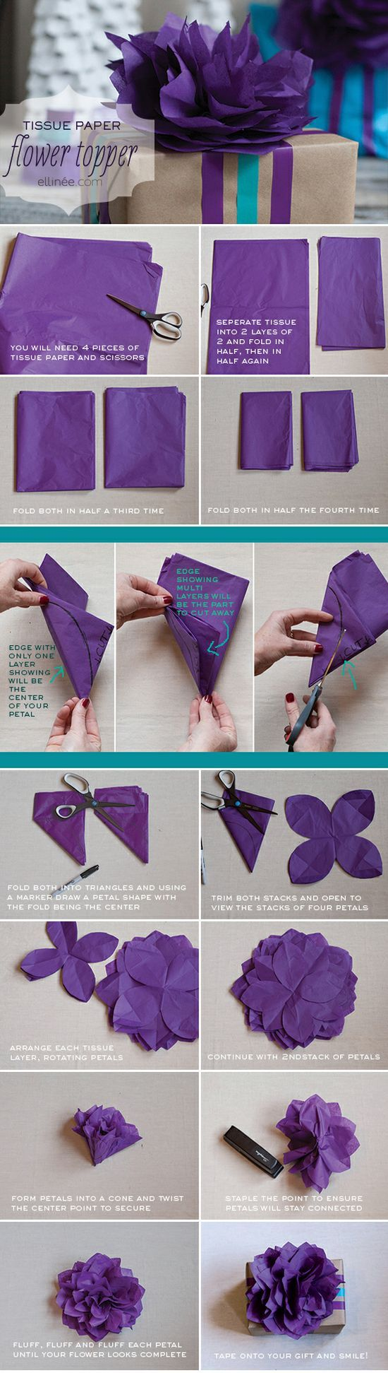 Diy Tissue Paper Flower, Gift Wrap Topper, Tutorial, Diy  Flowers Garland,